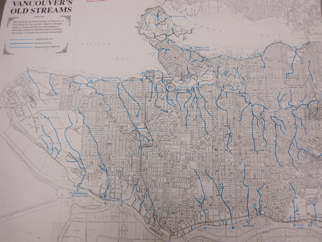 Map of Vancouver's hidden streams
